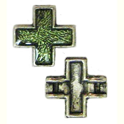 6 Antique Silver Cross Beads with Green Enamel - Crosses
