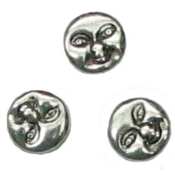 10 Pot Silver Sun Moon Face Beads