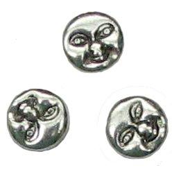 10 Pot Silver Sun Moon Face Beads