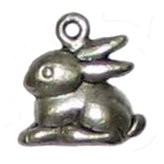 6 Antique Silver Rabbit Charms - Rabbits