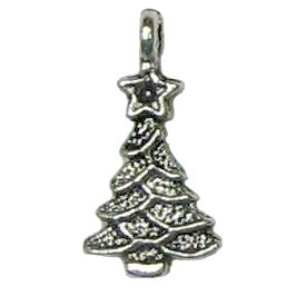 6 Antique Silver Christmas Tree Pendants - Trees