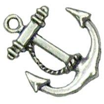 6 Antique Silver Anchor Charms