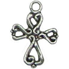 6 Antique Silver Ornate Cross Charms - Crosses