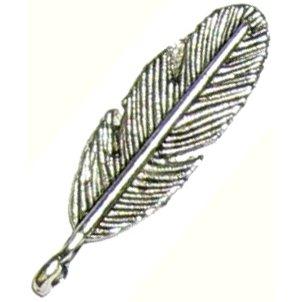 6 Antique Silver Feather Pendants
