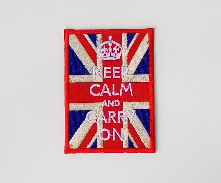 Vintage Union jack flag Keep calm and carry on iron on patch.