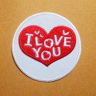 White Circle of love/I love you embroidered iron on patch.