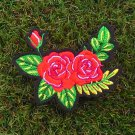 Red wild Roses Floral Iron On Patch.