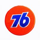 Orange circle of number 76 Sew on or Iron on Patch.