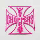 Pink west choppers coast iron on patch.