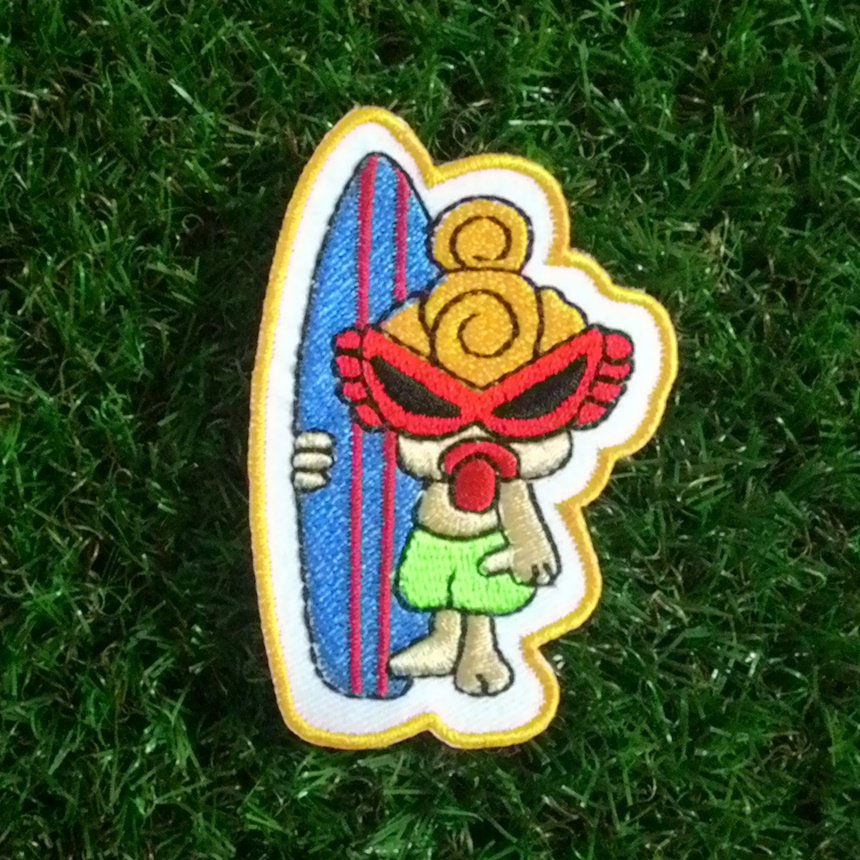 Cute surf girl applique iron on patch.