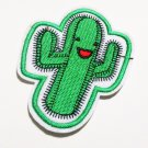 New! Happy cute cactus embroidered iron on patch.