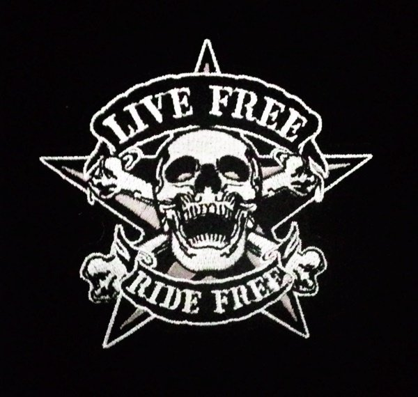 Embroidered Live Free Ride Free Skull iron on patch.