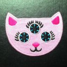 Cute Demon Pink cat three eyes iron on patch.