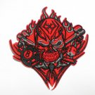Red Cross Skull Gambler Embroidered iron on patch.