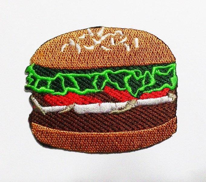 Hamburger cute iron on patch.