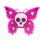 Embroidered Pink Skull Butter Fly iron on Patch.