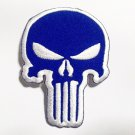 Blue punisher iron-on patch.
