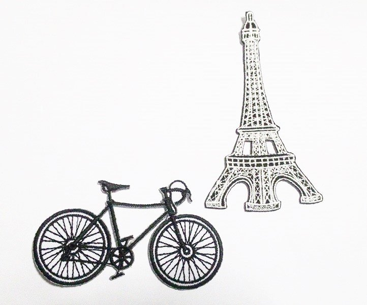 set 2 pcs. Bicycle and Eiffel tower in Paris iron-on patch.