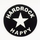 Embroidered Black circle star hard rock happy Iron on Patch.