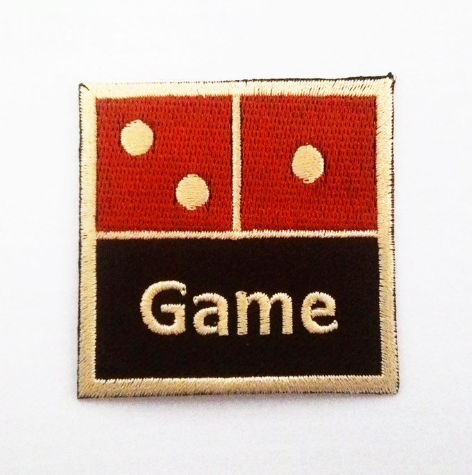 Retro Domino Game Iron on Patch.