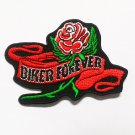 Biker forever with rose embroidered iron-on patch.
