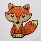 Brown fox cartoon iron-on patch.