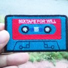 Blue retro Cassette tape iron on patch.