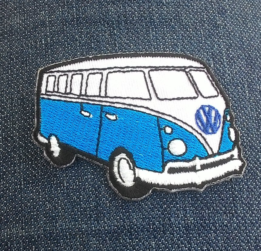Blue and white van Embroidered Iron On Patch.