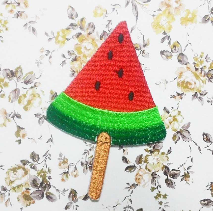 Watermelon embroidered iron-on patch.