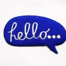 Quotes Blue Hello iron-on patch.