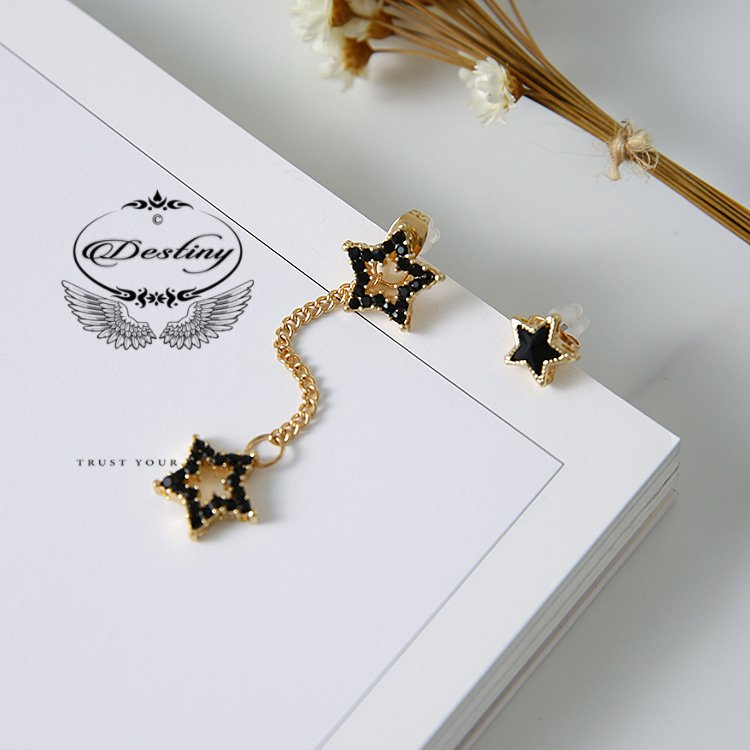 Fashion hollow black five-pointed star diamond asymmetric earrings earrings female.