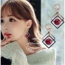 Diamond red beads earrings female.