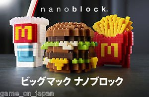 Nanoblock McDonald's Japan Kawada Limited Big Mac Burger Fries Drink 3P Set NEW