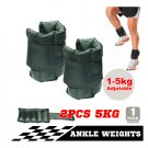 2x 5kg Ankle Weights Fitness Adjustable Gym Training Wrist Yoga Workout 10kg