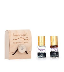 Ambrosial Gift Set 3ml-2 Attar Black Musk White Oud 100% Natural Pure