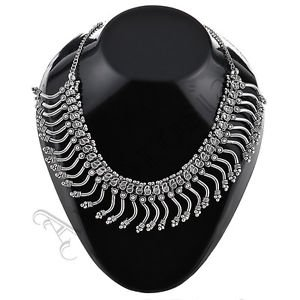 Oxidised White Metal Handcrafted Indian Ethnic Women Gypsy Necklace Jewelry 16