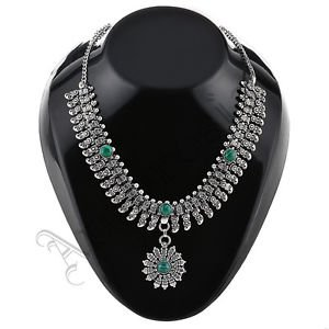 Oxidised White Metal Handcrafted Indian Ethnic Women Gypsy Necklace Jewelry 09