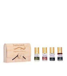 Ambrosial Gift Set 3ml-4 Attar Rose Jasmine Black Musk White Oud Natural Pure