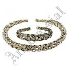 Golden Textured White Metal Handcrafted Indian Women Gypsy Necklace Jewelry 42