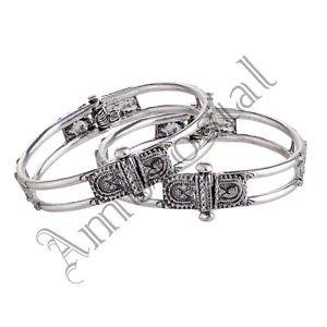 Oxidised White Metal Handcrafted Indian Ethnic Gypsy Kada Bangles Jewelry 01