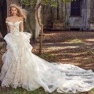 Lace Crystal Floral Princess Mermaid Wedding Dress With Detachable Train