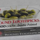 800 Count Box Round Rounded End Wood Wooden Toothpicks