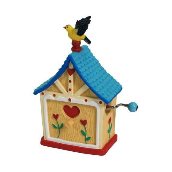 Goldfinch Songbird Perched on House Hand Cranked Musical Figurine