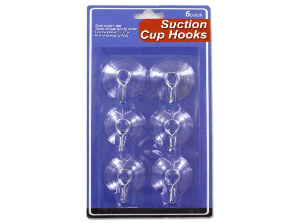 "Suction Cup Hooks Set 6-pack, 1.5"" Wide"