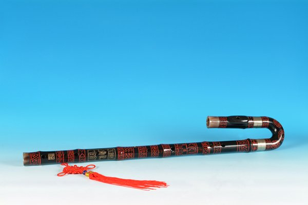 JY-412a-Big Bass  Bent Black Bamboo Flute W/T Double Copper Joints