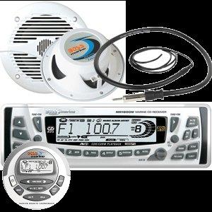 NEW BOSS MARINE MCK2606W WHITE AM/FM/CD BUNDLE W/REMOTE