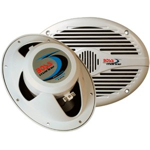 """Boss Audio MR690 6"""" x 9"""" White Oval Marine coaxial Speakers"""