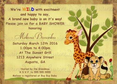 Baby Shower Invitation/ Baby Jungle Animals Baby Shower invitation