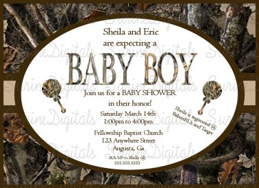 Camo Baby Shower Invitation with choice of accents and back ground
