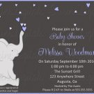 Elephant Baby Shower Invitation with pink or blue hearts/ Baby Shower Invitation for girl or boy